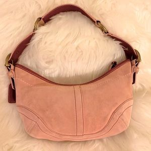 Coach Dusty Pink Suede HOBO Hand Bag